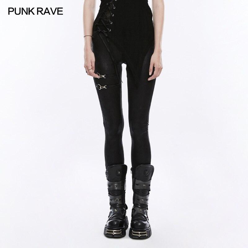 Punk Rave Fashion Casual Stretchy Leggings Pants Sexy Black Visual Kei Steampunk OPK161 2017solid black fashion women pants autumn rocker punk sexy style leggings street metallic femme casual slim pants