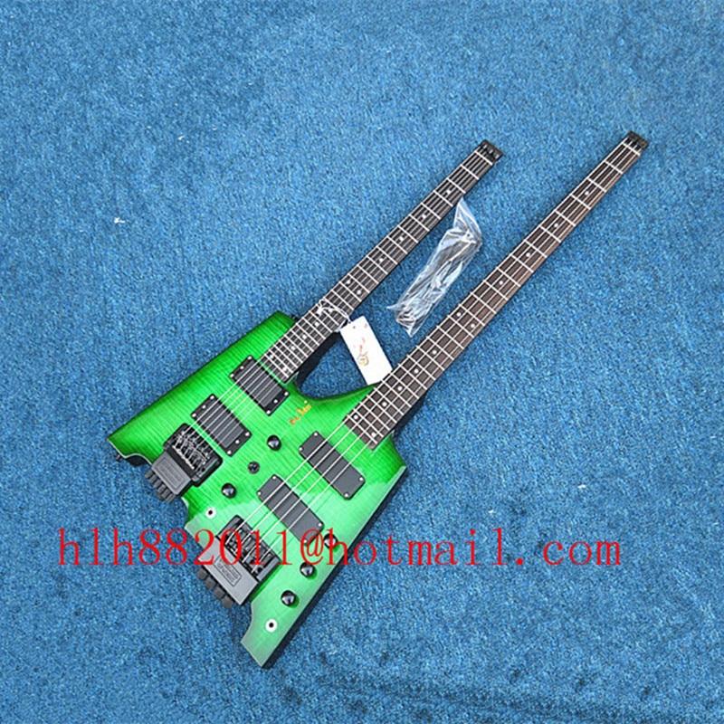 Livraison gratuite Big John double cou sans tête 4 cordes basse électrique et 6 cordes guitare électrique en vert BJ-50