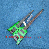 free shipping Big John double neck headless 4 strings electric bass and 6 strings electric guitar in green JT 36 2