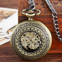 Half Hunter Steampunk Skeleton Mechanical Pocket Watch Men Hand Wind Vintage Pocket & Fob Watch Luxury Male Clock Chain