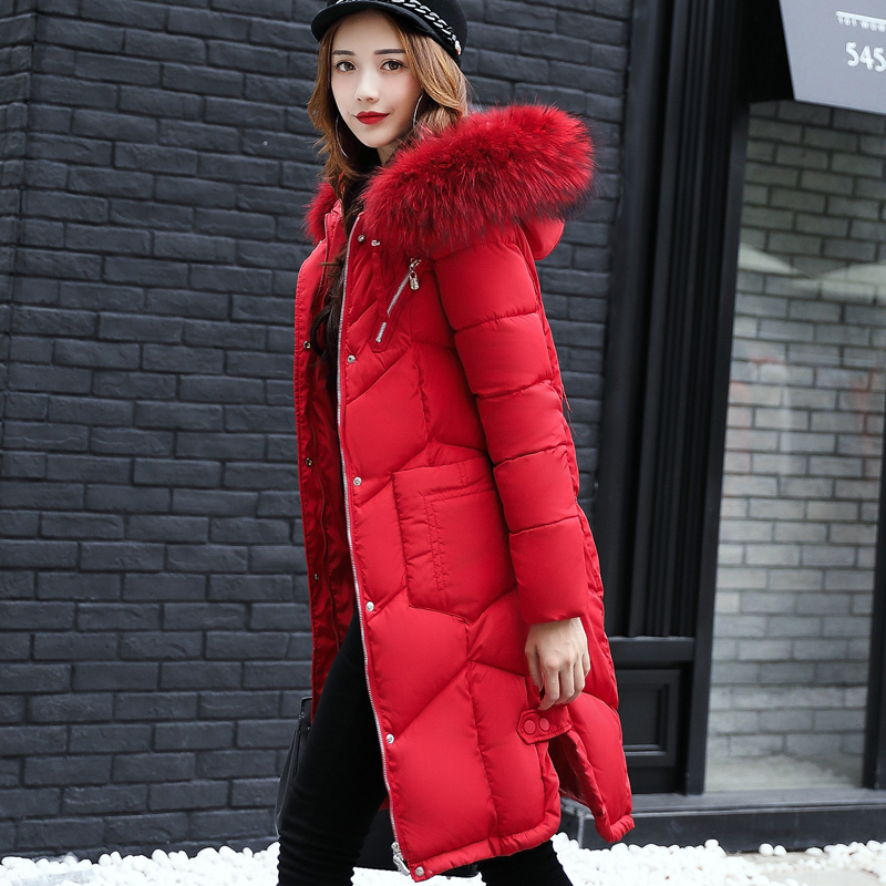 2017 Down Jacket Coat Female Plus Size Long Cotton Padded Jackets for Women artificial Large Fox Fur Winter Parka Spring Coats fashion 2017 down jacket coat female long cotton padded jackets for women large fur winter parka spring coats slim waist parkas
