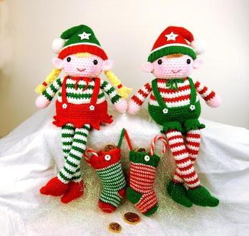 crochet toys chirstmas boy and girl model number b05119