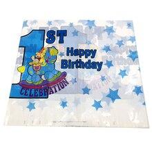 1-й День рождения синий полиэтиленовая скатерть украшения одноразовая скатерть для стола дети мальчики ребенка сувениры события карты 1 шт./упак
