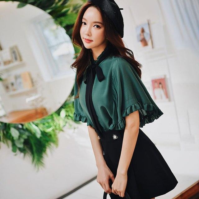 Dabuwawa Women Summer Dark Green Sweet Shirts 2019 New Ladies Flare Sleeve Ruffled Bow Chiffon Blouse Tops DN1BST002