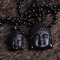 Can Drop Shipping 100% Natural Obsidian Stone Top Fashion Crystal Pendant Buddha Buddha Head Necklace Pendant Gift