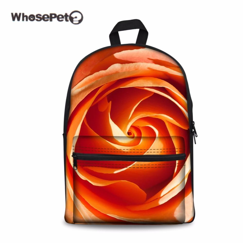 WHOSEPET Rose Print Girl School Bags Women Children Schoolbag Back Pack for Teenagers Student Large Travel Knapsacks 2017 New ...