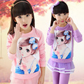 V-TREE Outono conjuntos de roupas meninas doces cor menina conjuntos de roupas de manga comprida camisa & saia legging conjunto menina da escola adolescente roupas