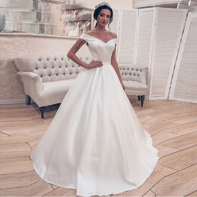 Simple Elegant White Ivory Satin Wedding Dress Princess Ball Gown Corset Off Shoulder Bridal Gown Long Vestidos De Novia 2019
