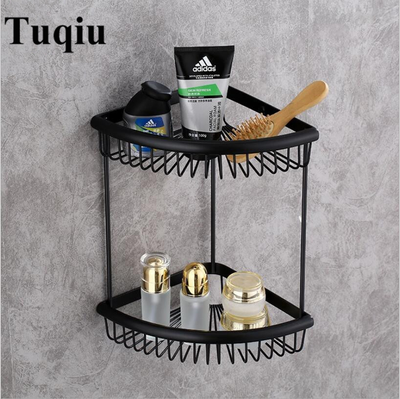 Antique Bathroom Shelves copper dual Tiers Corner Shelf Shower Caddy Storage Shampoo Basket Wall Kitchen Corner Sticky Holder double celebration of finishing the cracks movable side refrigerator kitchen corner shelf plastic three shelves 1064