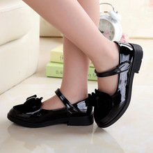 Cute little girl shoes 2017 autumn new fashion black bow tie low student dance leather girls red