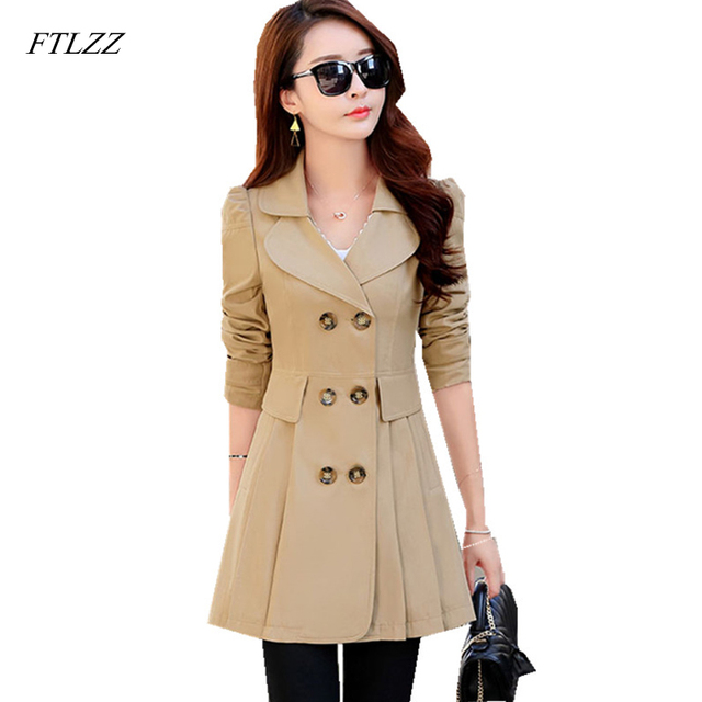 FTLZZ New Women's Trench Coat Spring Autumn Black Green Slim Double Breasted Windbreaker Outerwear Female Casual Trench Coat 2
