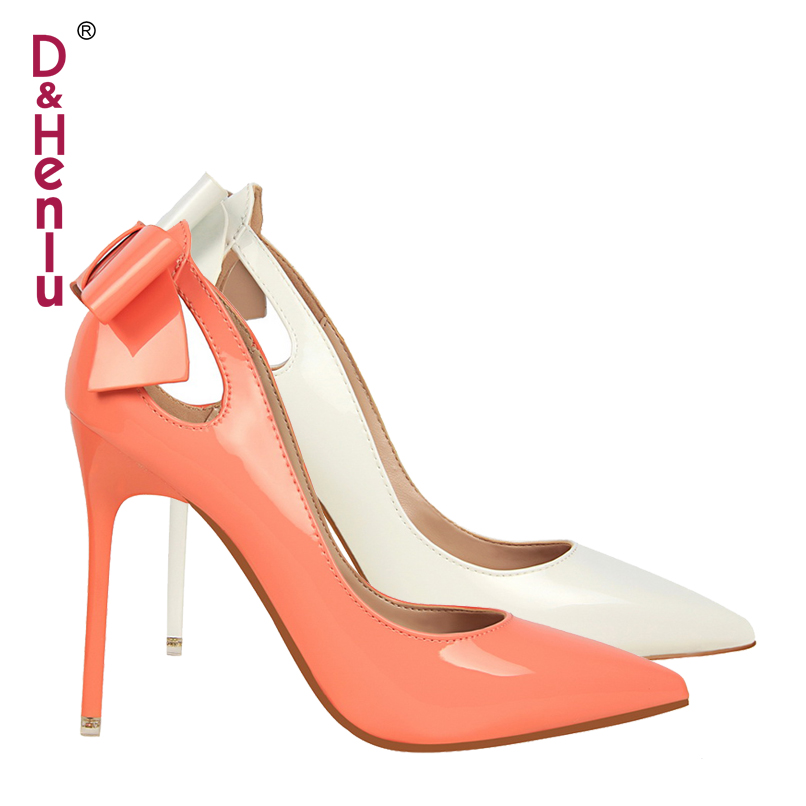 {D&Henlu} Brand Women's Shoes Sweet Big Bow High Heels Women Pumps Stiletto Thin Heel Pointed Toe Hollow High-heeled Shoes 10cm awei es900i hifi headphone with microphone mic headset in ear earphone for your in ear phone bud iphone samsung earbud earpiece
