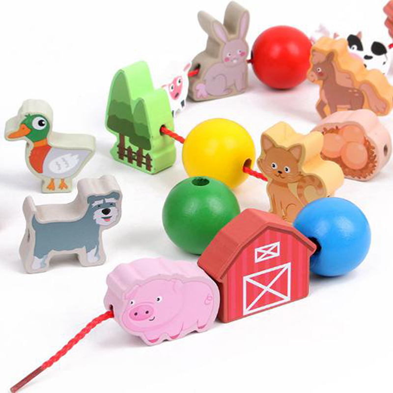 Baby Wooden Funny Toys Cartoon Lacing Wooden Threading Beads Game Education Top Cartoon Kids Toys