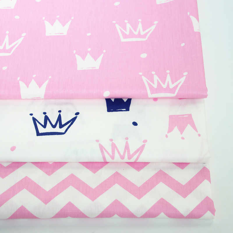 Princess Baby Girl Crown Cotton Twill Fabric Sewing Cloth