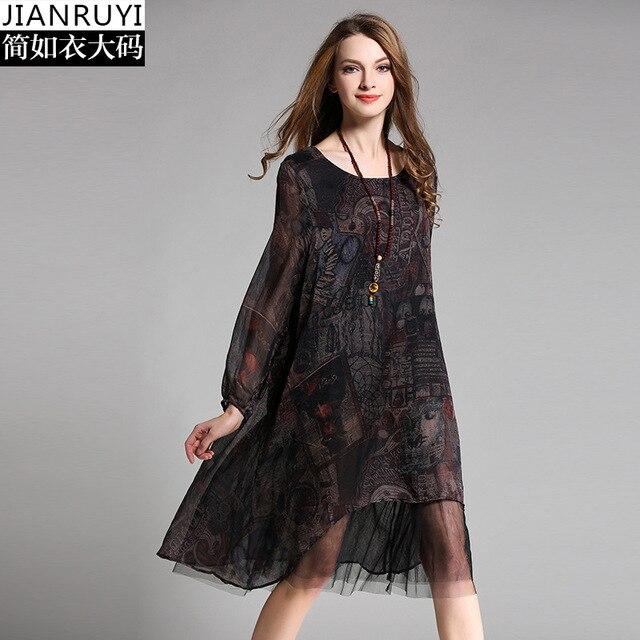 Europe 2017 Spring New Product Printed Long Sleeve Silk Dress Plus