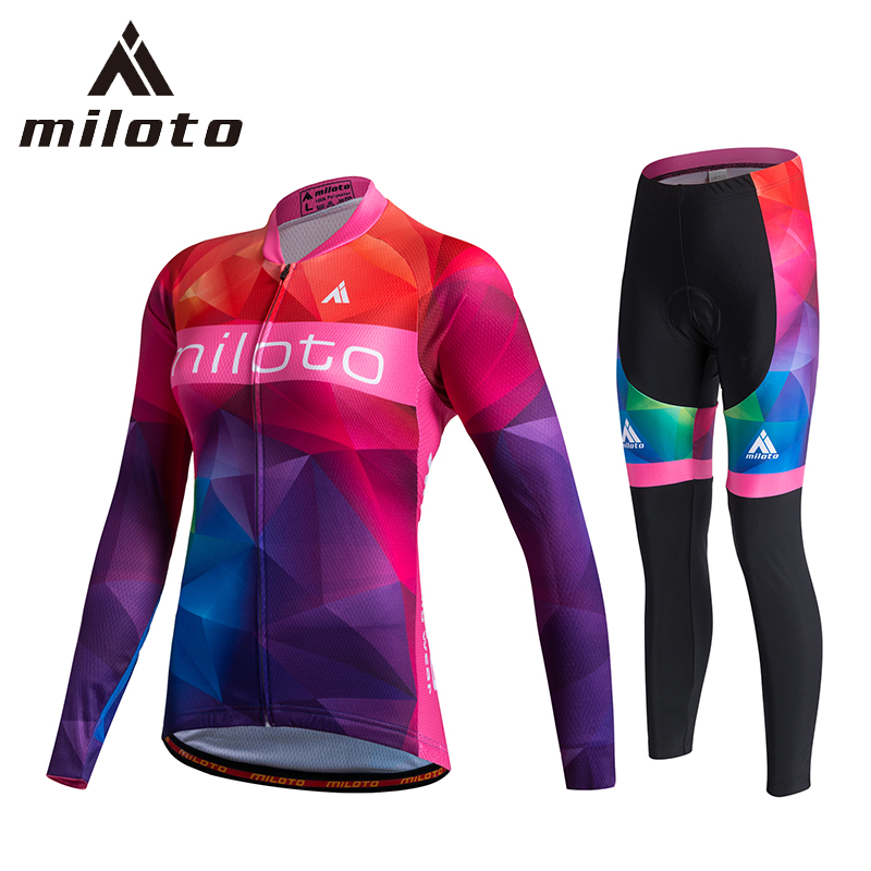 Miloto Pro Team Cycling Jersey Sets Women Long Sleeve Bicycle Mtb Bike Wear Clothing Cycling Jersey Gel Pants Set ropa ciclismo