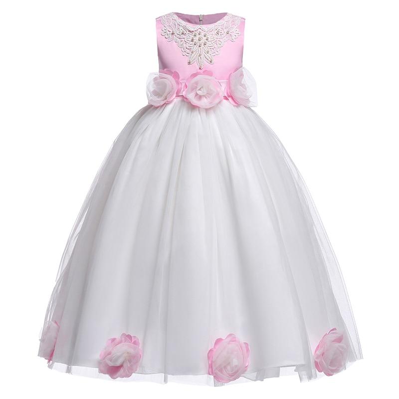 Baby Girl Dress Elegant Wedding Pink Flowers Children's Clothing Birthday Wearing Girl Dress Children's Clothes Girl's Clothes