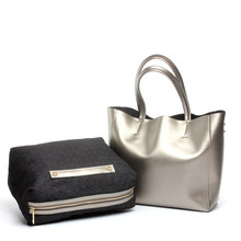 64ca4b5d84 Split En Cuir De Luxe sacs à main femmes sacs designer Grand fourre-tout sac  de peau de Vache Sacs Femmes Épaule Sac Or Argent C..
