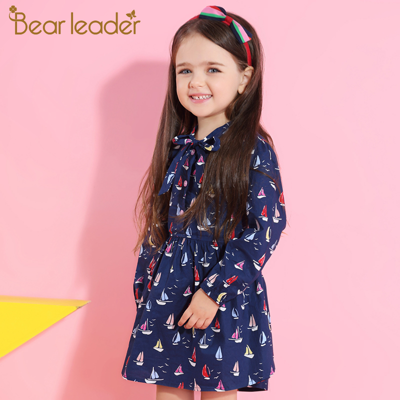 Bear Leader Girls Dress 2018 New Autumn Brand Baby Girls Long Sleeve Cute Sailboat Print Ribbon Bow Children Dress For 3-7 Years 3 4 sleeve tribal print shift mini dress