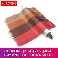 Wjlz5050 Xi skały Ombre syntetyczne doczepy do włosów klip przedłużanie 50cm długie proste sztuczne rozszerzenia treski dla kobiet peruki