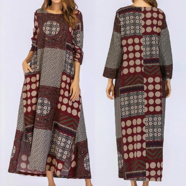 eb8f7465e5 New Casual Women 3 4 Sleeve Cotton Linen Loose Pocket Long Bohe Dress Floral  Kaftan long sleeve O-Neck Plus Size
