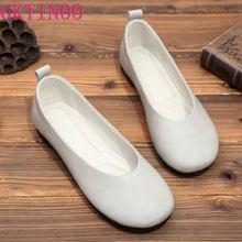 Mocasines de piel auténtica para mujer, mocasines planos suaves, bailarinas para conducir, Calzado cómodo, zapatos de abuela