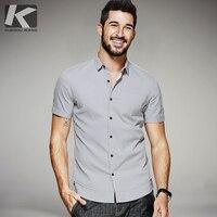 KUEGOU 2017 Summer Mens Casual Shirts Patchwork Gray Color Brand Clothing Man S Short Sleeve Slim