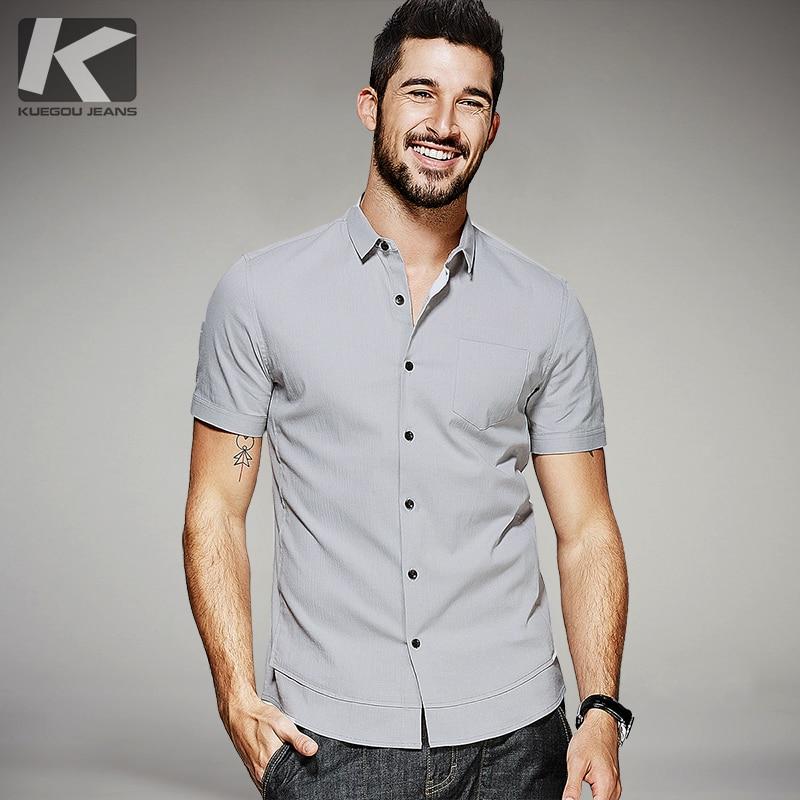 百思买 ) }}KUEGOU New Summer Mens Casual Shirts Patchwork Gray Color