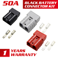 3 Colors Black Red Grey 600V 50AMP Premium For Anderson Plug Connector Exterior DC Power Solar Caravan Boats Plugs Dual Pole New