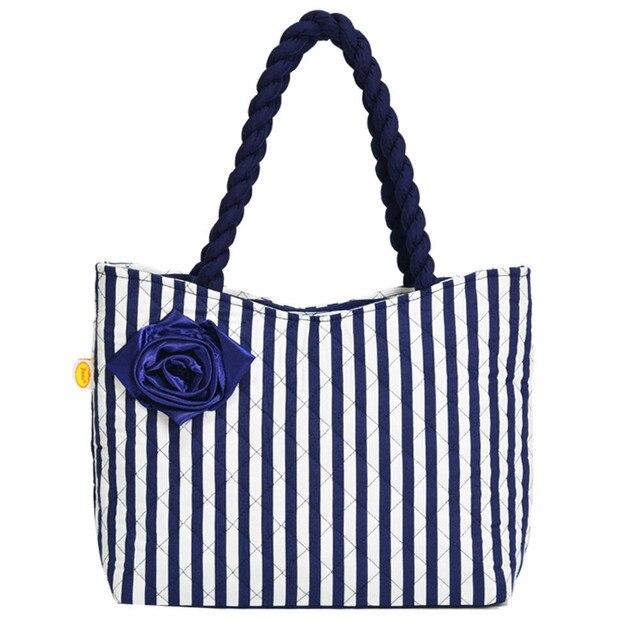 Women Beach Cotton Bag Fashion Fl Thai Stripes Printing Handbags Las Large Shoulder Totes Casual