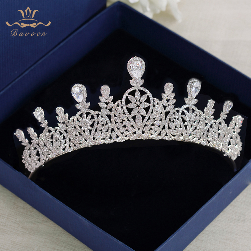 Bavoen Fashion CZ Crystal Brides Crown Tiara Princess Headband For Brides Wedding Hair Accessories Silver Evening Hair Jewelry-in Hair Jewelry from Jewelry & Accessories    1