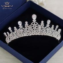 Bavoen Tiara con cristales de zirconia cúbica para novias, diadema de princesa para novias, accesorios para el cabello de boda, joyería para el cabello de noche