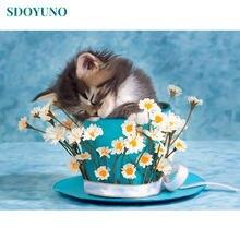 Sdoyuno 60x75 см рамка кошки в цветочных горшках картина по