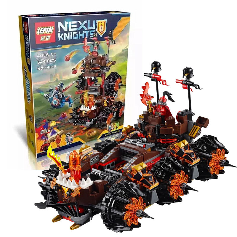 2016 New Lepin 14018 Nexoe Knights General Magmars Schicksalsmobil Building Set  Bricks Blocks Compatible lepin 14004 knights beast master chaos chariot building bricks blocks set kids toys compatible 70314 nexus knights 334pcs set