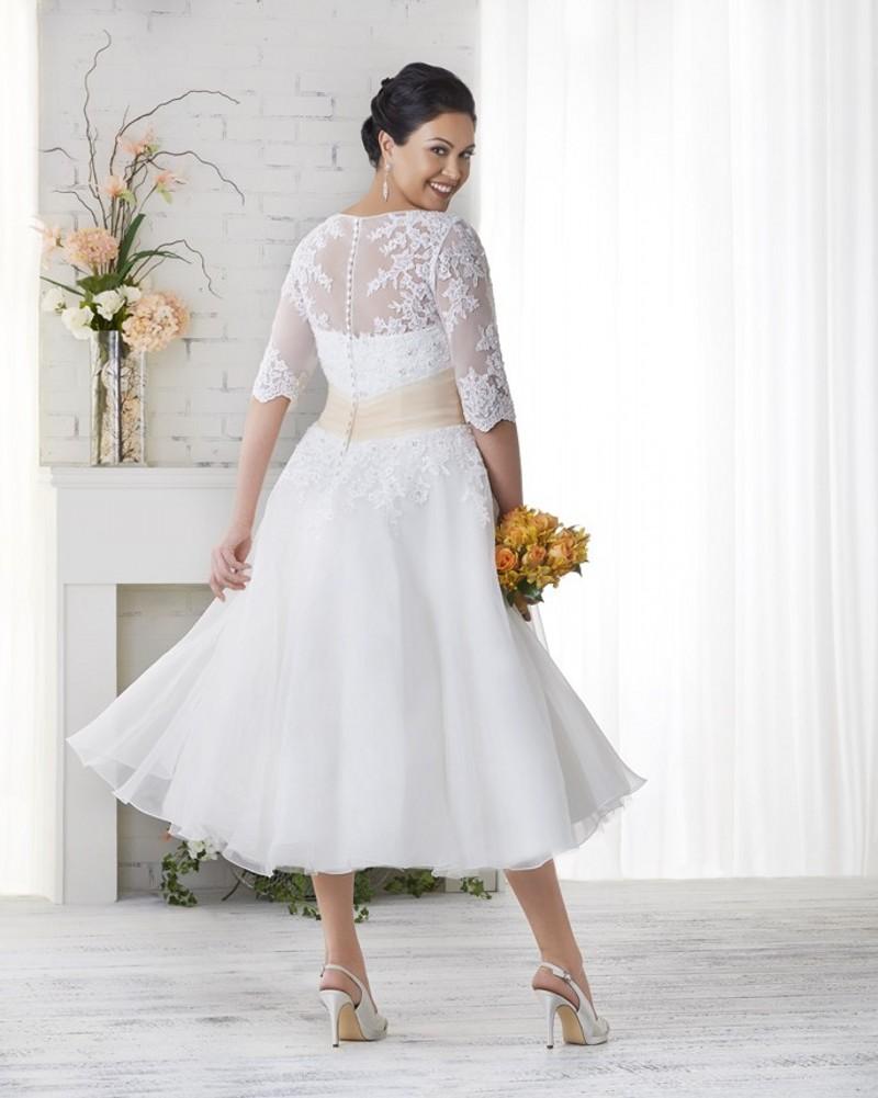 Tea Length Plus Size Long Wedding Dresses Half Sleeves Appliques ...