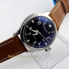 Parnis 47mm balck cadran lumineux rivet montre Automatique bracelet hommes