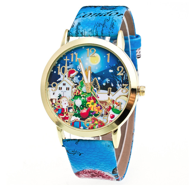 Christmas Pattern Leather Band Watches Luxury Brand children's Bracelet Watches