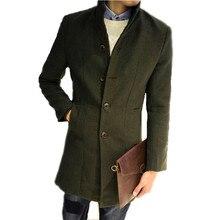 Men's Long Woolen Coat Winter Wool Men's New Autumn and Winter Solid Color Slim Casual Windbreaker Jacket Mens Green Wool Coat
