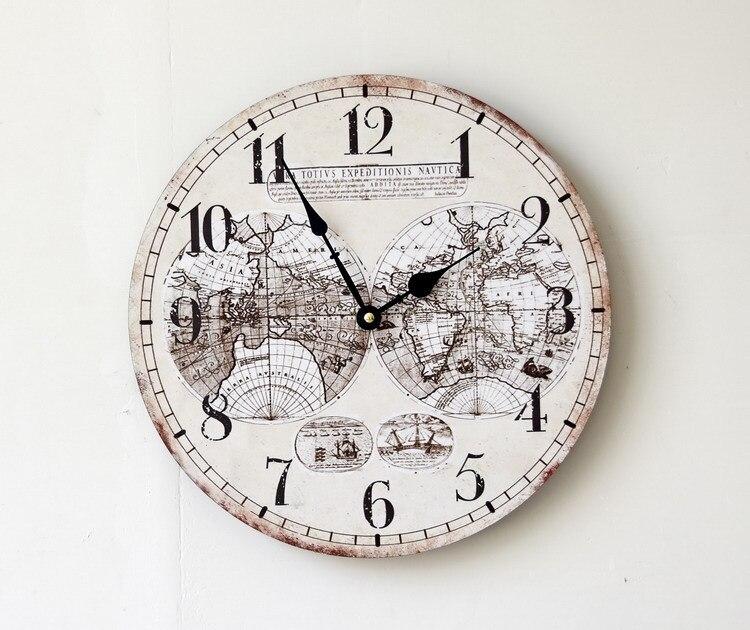 US $25.98  35 CM Weltkarte Holz Große Wanduhr Elektronik Nostalgie Hängen  Uhren Wohnzimmer Dekoration-in Wanduhren aus Heim und Garten bei ...