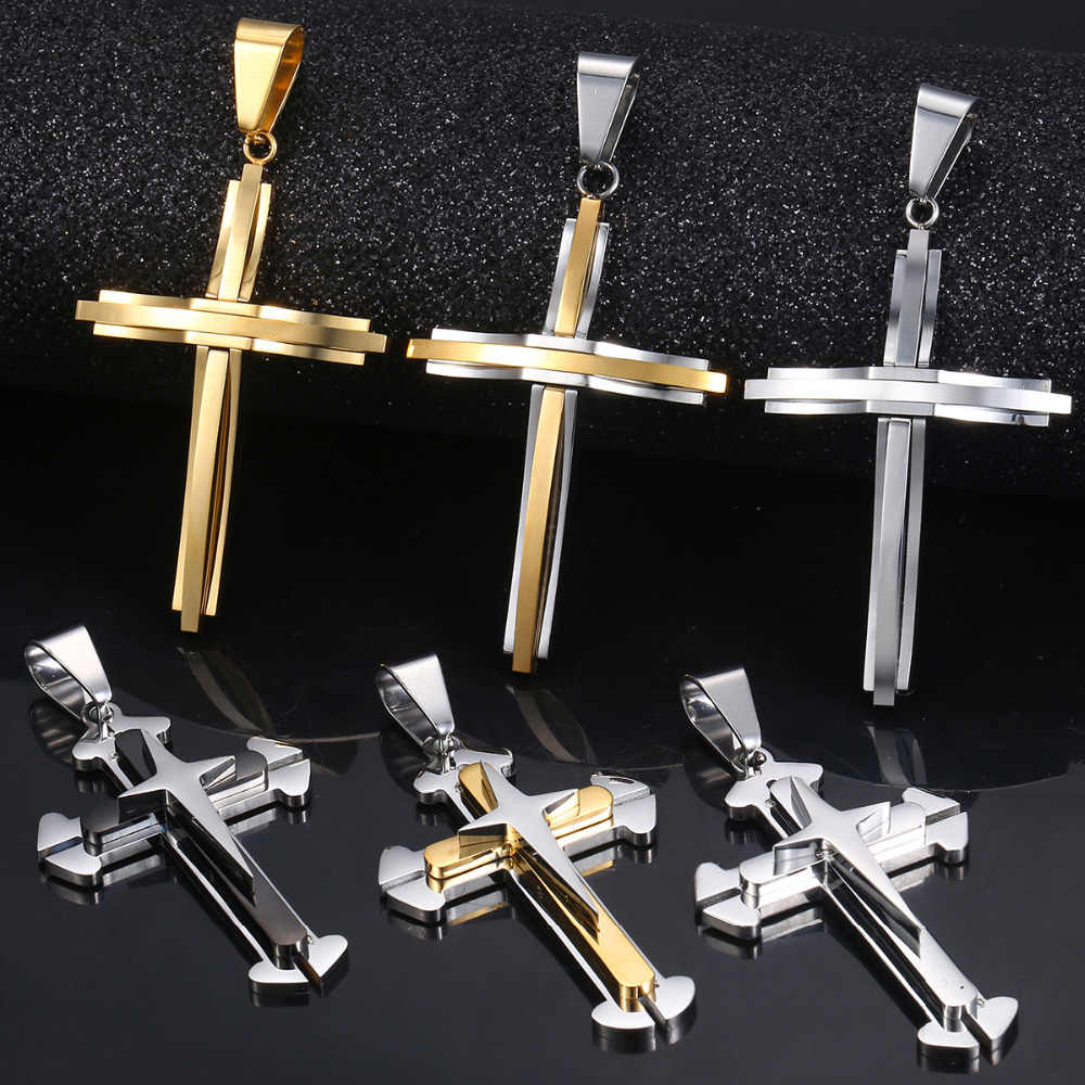 Davieslee 15 Styles Stainless Steel Cross Pendant for Men Gold Silver Tone Multi Layers Clear CZ Trendy Jewelry DLKPP1