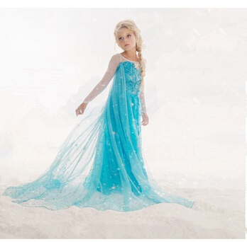 promotion kids clothes elsa ana princess queen snow dress girl baby