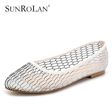 SUNROLAN 2017 Plus Size Spring Women Split Leather Shoes Moccasins Mother Mesh Loafers Flats Female Slip-on Breath Shoes DBN-685