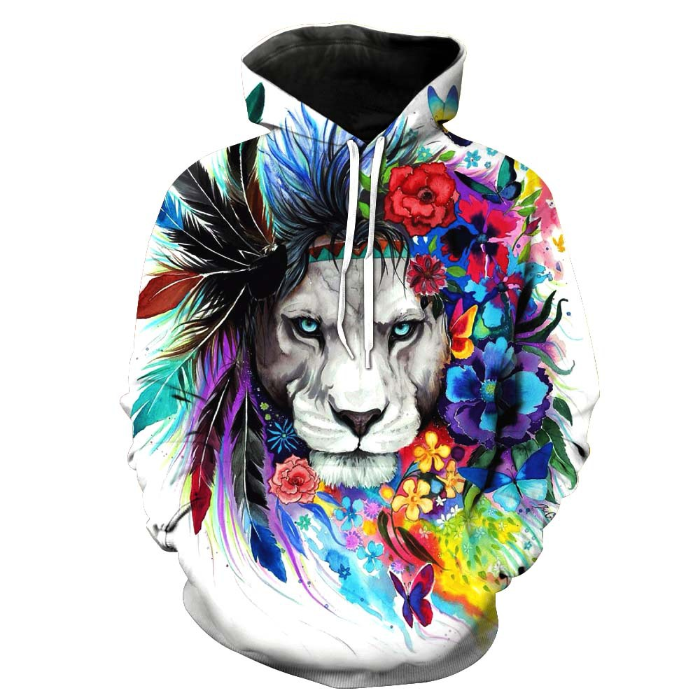 ONSEME Unisex-Adult Harajuku Hoodie Cool Flower Lion Hoodies Pullovers Indian Tribe Religion Style Printed Hooded Sweatshirts