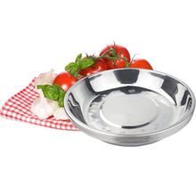 Plat à soupe multi-usages en acier inoxydable, assiette Plate ronde en métal pour gâteau délicat, assiette profonde en métal pour légumes et fruits
