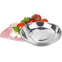 Plat à soupe multi-usages en acier, assiette ronde Plate en métal pour gâteaux délicats, assiette profonde en métal pour légumes et fruits
