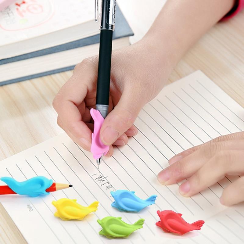 10pcs/set Kawaii Pen Pencil Grip Holder Writing Posture Corrector Random Color For Correct Children's Writing Posture #4