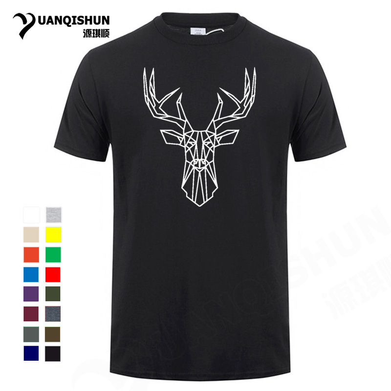 Geometric Deer Head Men's T-shirt Funny Animal Line Art Tshirt 2018 New Pure Cotton T Shirts Unisex Tops Tee