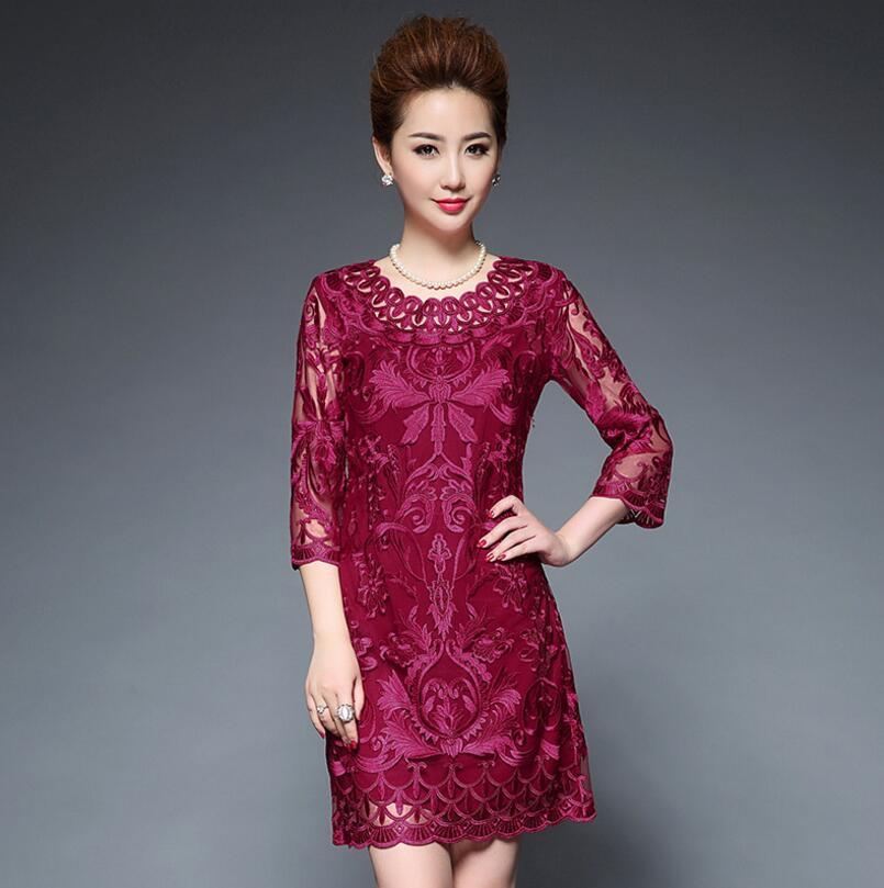 Moyen âge femmes robe élégante mode dentelle patchwork maille broderie robe de soirée robes grande taille 5XL s1958