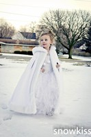 Long Hooded Girls Cape Ivory/White Wedding Cloaks Faux Fur Jacket For Winter Kid Flower Girl Children Outerwear & Coats