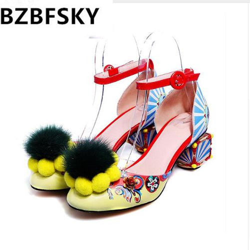 Ethnic Bohemian Summer Woman Pompon Sandals Gladiator Roman Flowers high heels Embroidered Tassel Shoes shoes woman